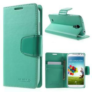 Diary PU kožené pouzdro na mobil Samsung Galaxy S4 - azurové - 1