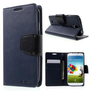 Diary PU kožené pouzdro na mobil Samsung Galaxy S4 - tmavěmodré - 1