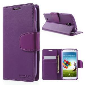 Diary PU kožené puzdro pre mobil Samsung Galaxy S4 - fialové - 1