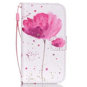 Knížkové koženkové puzdro pre Samsung Galaxy S4 - flower - 1