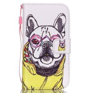 Knížkové koženkové puzdro pre Samsung Galaxy S4 - buldog - 1