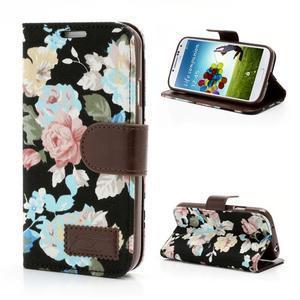 Květinové pouzdro na mobil Samsung Galaxy S4 - černé pozadí - 1