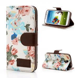 Kvetinové puzdro pre mobil Samsung Galaxy S4 - biele pozadie - 1