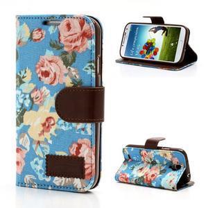 Květinové pouzdro na mobil Samsung Galaxy S4 - modré pozadí - 1