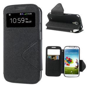 Okýnkové peňaženkové puzdro pre mobil Samsung Galaxy S4 - čierne - 1