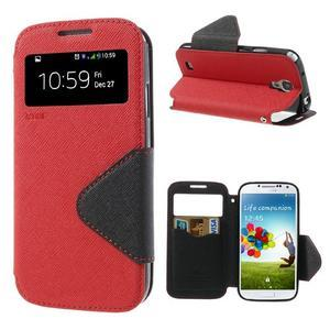 Okýnkové peňaženkové puzdro pre mobil Samsung Galaxy S4 - červené - 1