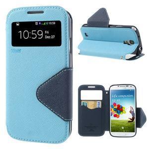 Okýnkové peňaženkové puzdro pre mobil Samsung Galaxy S4 - svetlomodré - 1