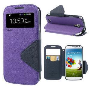 Okýnkové peňaženkové puzdro pre mobil Samsung Galaxy S4 - fialové - 1