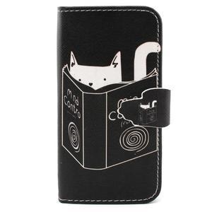 Diaryleather pouzdro na mobil Samsung Galaxy S4 mini - kočička čte - 1