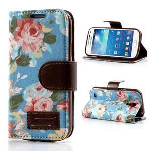 Kvetinkové puzdro pre mobil Samsung Galaxy S4 mini - modré pozadie - 1