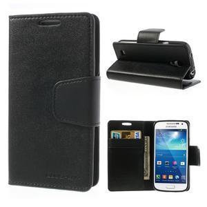 Sonata PU kožené pouzdro na mobil Samsung Galaxy S4 mini - černé - 1