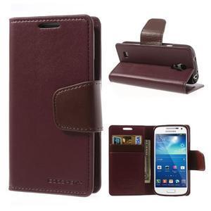 Sonata PU kožené pouzdro na mobil Samsung Galaxy S4 mini - vínové - 1