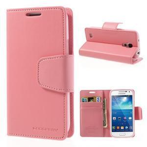 Sonata PU kožené puzdro pre mobil Samsung Galaxy S4 mini - ružové - 1