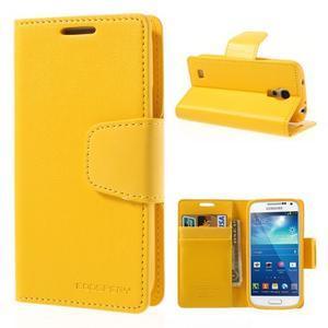 Sonata PU kožené pouzdro na mobil Samsung Galaxy S4 mini - žluté - 1