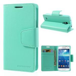 Sonata PU kožené pouzdro na mobil Samsung Galaxy S4 mini - azurové - 1
