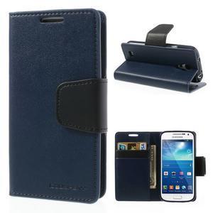 Sonata PU kožené puzdro pre mobil Samsung Galaxy S4 mini - tmavomodré - 1