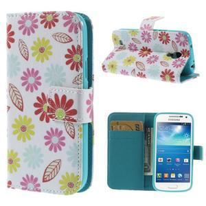 Style peňaženkové puzdro pre Samsung Galaxy S4 mini - kvetinky - 1
