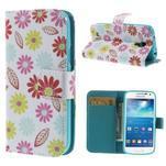 Style peňaženkové puzdro pre Samsung Galaxy S4 mini - kvetinky - 1/7