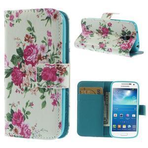 Style peňaženkové puzdro pre Samsung Galaxy S4 mini - kvietky - 1