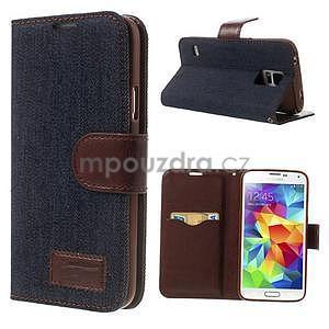 Jeans peňaženkové puzdro pre mobil Samsung Galaxy S5 - čiernomodré - 1