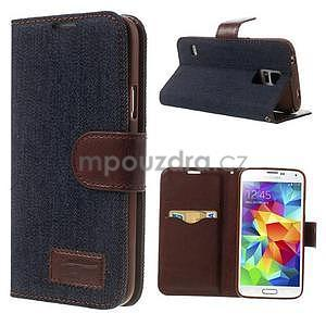 Jeans peněženkové pouzdro na mobil Samsung Galaxy S5 - černomodré - 1