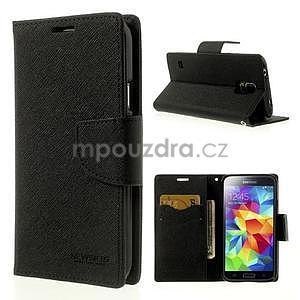 Diary peňaženkové puzdro pre Samsung Galaxy S5 - čierne - 1