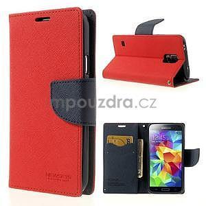 Diary peňaženkové puzdro pre Samsung Galaxy S5 - červené - 1