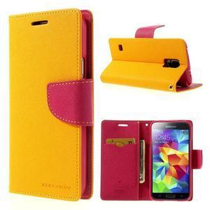 Diary peňaženkové puzdro pre Samsung Galaxy S5 - žlté - 1