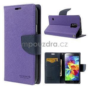 Diary peněženkové pouzdro na Samsung Galaxy S5 - fialové - 1