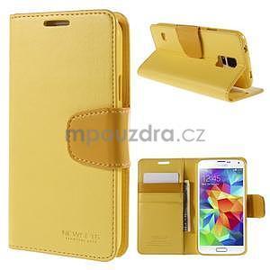Elegantní peňaženkové puzdro pre Samsung Galaxy S5 - žlté - 1