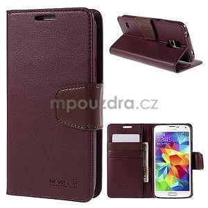 Elegantní peňaženkové puzdro pre Samsung Galaxy S5 - vínové - 1