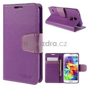 Elegantní peňaženkové puzdro pre Samsung Galaxy S5 - fialové - 1