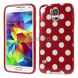 Puntíkovaný gelový kryt na Samsung Galaxy S5 - červený - 1