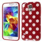 Puntíkovaný gélový kryt pre Samsung Galaxy S5 - červený - 1/5