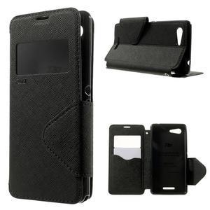 Peňaženkové puzdro s okienkom na Sony Xperia E3 - čierne - 1
