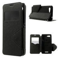 Peňaženkové puzdro s okienkom na Sony Xperia E3 - čierne - 1/7