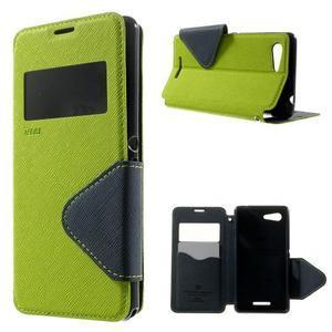 Peňaženkové puzdro s okienkom na Sony Xperia E3 - zelené - 1