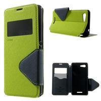 Peňaženkové puzdro s okienkom na Sony Xperia E3 - zelené - 1/7