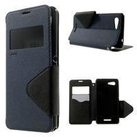 Peňaženkové puzdro s okienkom na Sony Xperia E3 - tmavomodré - 1/7