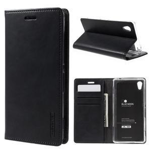 Moons PU kožené klopové puzdro pre Sony Xperia M4 Aqua - čierne - 1