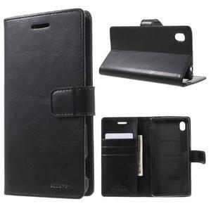 Moon PU kožené puzdro pre mobil Sony Xperia M4 Aqua - čierne - 1