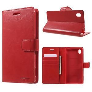 Moon PU kožené puzdro pre mobil Sony Xperia M4 Aqua - červené - 1