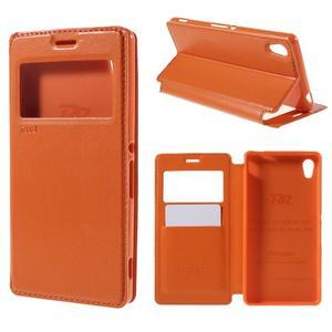 Okýnkové PU kožené pouzdro na Sony Xperia M4 Aqua - oranžové - 1