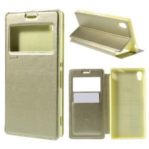 Okýnkové PU kožené pouzdro na Sony Xperia M4 Aqua - zlaté - 1