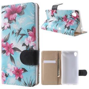 Květinkové pouzdro na mobil Sony Xperia M4 Aqua - modré - 1