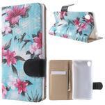 Květinkové pouzdro na mobil Sony Xperia M4 Aqua - modré - 1/7
