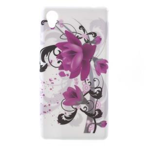 Emotive gélový obal pre Sony Xperia M4 Aqua - fialový kvet - 1