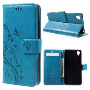 Butterfly PU kožené puzdro pre Sony Xperia X - modré - 1