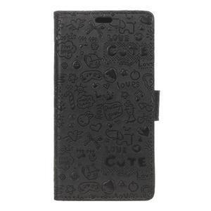 Cartoo peňaženkové puzdro pre Sony Xperia X Performance - čierne - 1