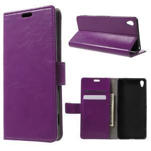 Horse PU kožené pouzdro na mobil Sony Xperia XA - fialové - 1